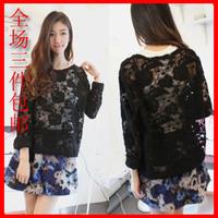 Free shipping the new 2014 spring cutout loose lace shirt woman  t-shirt