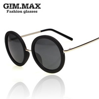 Free shipping  fashion vintage big circle sun glasses sunglasses star style big box prince's mirror