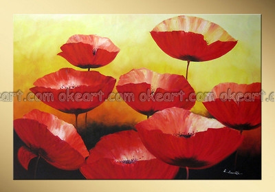 100% hand painted free shipping High quality Red Poppies Party Floral make people laugh decoration art oil paintings on canvas(China (Mainland))