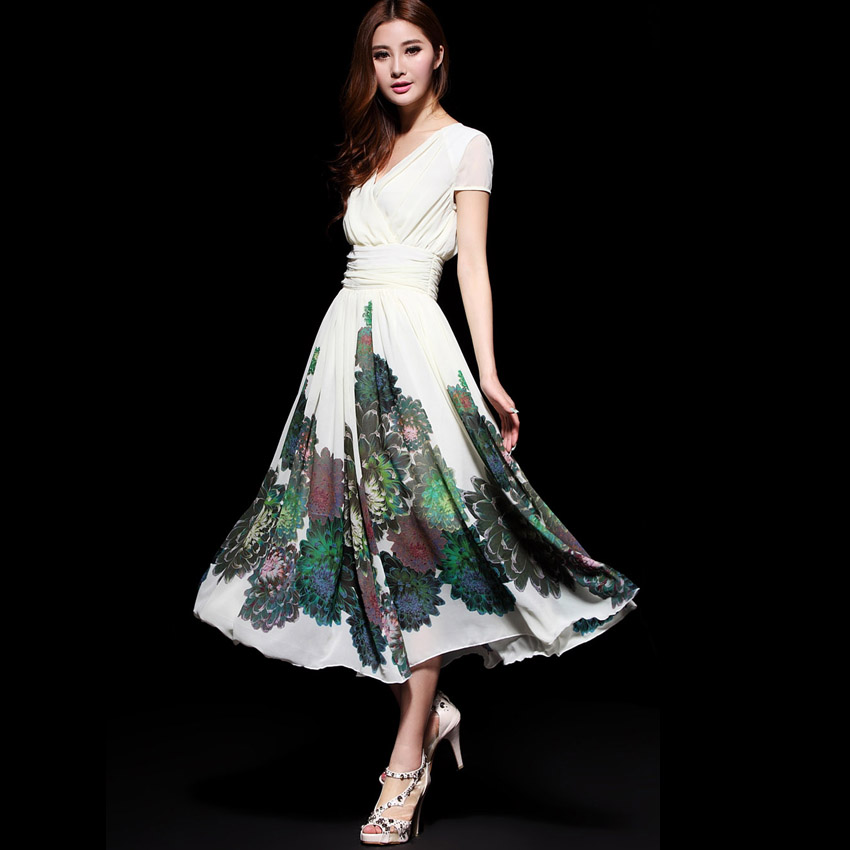 Summer 2013 female V-neck full dress print one-piece dress big skirt chiffon high waist slim one-piece dress(China (Mainland))