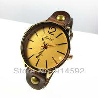 Vintage Retro Men Women Round Gold Dial Brown Genuine Leather Wristwatch Free Shipping