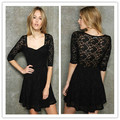 2013 New Fashion Cute Half Sleeve Lace  Knee-Length   Women Dress
