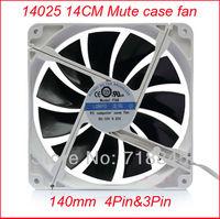 LONYO Mute White Border color 12V 0.22A 4Pin 3Pin 14CM 140MM 14025 PC Case / CPU Heatsink Cool Fan New