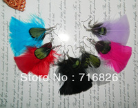 Peacock green feather earrings drop earring feather accessories earring