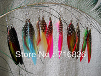 Fashion natural feather earrings feather drop earring popular color feather accessories