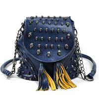 2013 fashion vintage tassel bag skull women's bucket bag handbag