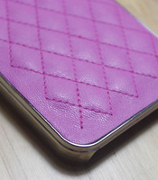 10PCS/LOT PINK WOMAN GIRIL Luxury PU leather case for iphone 4 4s Original Chrome Leather Case cover For iPhone 4G 4S
