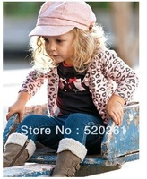 girls leopard cardigan owl tshirt jeans pants clothing sets jacket + long sleeve t-shirt + slim jeans 3pcs clothes set suits