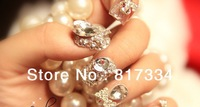 Crystal False Nails Design 3D false nails 20 pieces Dazzling Bride finger DIY artificial Crystal nails Quality art Decorations