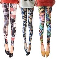 Free shipping hot 2014 Fashion letter ultra elastic female doodle legging pants thin skinny pants