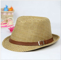 The Novelty of Summer 2013 Free Shipping Top Wholesale Straw Cowboy Jazz Hat Children Outdoor Caps Fashion British Sun Hat s302