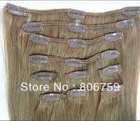 "120g/set #10 light brown Full Head Indian Remy Clip in Human hair extension 16""18""20""22""24""26""28""30"" colour Optional"