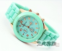 Geneva fashion women's silica gel sports watch rose gold supracrustal jelly table fashion lady