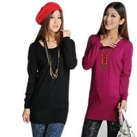 Autumn new arrival 2012 women's long-sleeve pullover sweater o-neck medium-long sweater plus size 5837 basic shirt