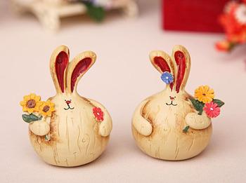 Zakka onion rabbit vintage rabbit logs resin decoration rustic doll