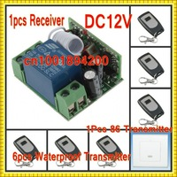 DC12V Remote Control Switch 1 Receiver  6 Waterproof Transmitter 1pcs 86 wall Transmitter  Momentary Press-ON Release-OFF.