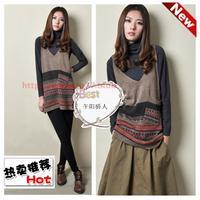 2013 spring women's medium-long sweater dress woven vest national trend wool tank dress