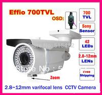 "1/3"" Sony Effio-e 700tvl 42leds,2.8~12mm varifocal lens , metal indoor/ outdoor cctv Surveillance camera free shipping !!!"