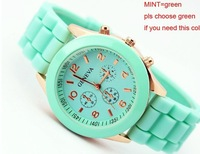 20pcs/lot 2013 Geneva Popular Silicone Quartz Men/Women/Girl Unisex Jelly Wrist Watch Free shipping 13color