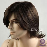 2013 Free shipping 100% Kanekalon men full wigs/artistic men dark brown wigs for men