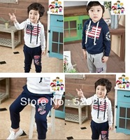 free shipping children 2pcs clothing set,baby girls boys sports suit embroidery neutral suit American flags baby set