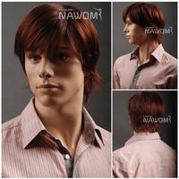 2013 Free shipping 100% Kanekalon aburn full wigs/auburn straight men wigs for men/auburn synthetic wigs for sale