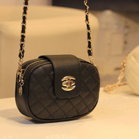 2013 women's handbag mini plaid shoulder bag messenger bag waist pack chain small bags