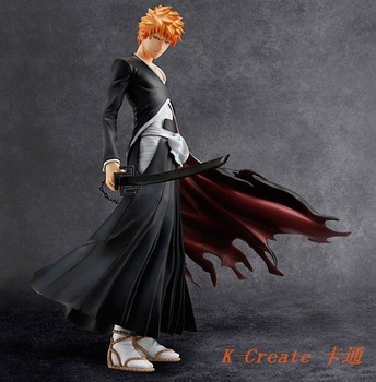 Free shipping 1pcs Japana anime Bleach pvc Kurosaki Ichigo action figure toys tall 19cm.Promotion price for Bleach fans.