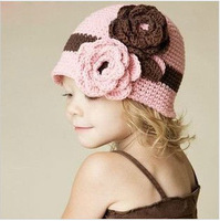 The Novelty 2013 Free shipping Wholesale 6pcs/lot Handmade Knitted Crochet  Baby Hat Cap Tab Children 2 Flower Hat S305