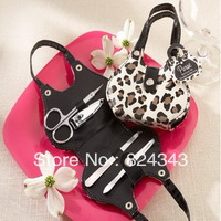 NEW ARRIVAL+Wedding Favors 'Chic Cheetah' Animal-Print Purse Four-Piece Manicure Set+50pcs / lot+FREE SHIPPING