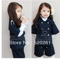 hot sale!! 5sets/lot fashion children/girl navy blue breasted jacket+skirt +white t-shirt 3 pieces clothes set