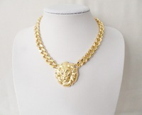 2013 Gold Color Lion head fashion chain pendant necklace