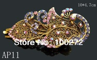 Wholesale vintage hair Jewelry peacock crystal rhinestone fashion alloy hair clip Free shipping 12pcs lot mixed color   AP11