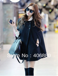 Best selling!!2013 Fashion New Double-breasted overcoat hooded Shawl ladies cape coat women's woolen sub-coat+Free shipping(China (Mainland))