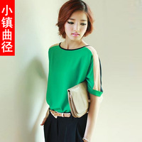 2013 Summer women's plus size loose haircord color block decoration short-sleeve Chiffon shirt top female basic shirt
