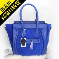 Electric light blue nubuck cowhide bag smiley bag genuine leather bag handbag messenger bag