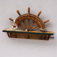 Wood craft ocean decoration solid wood coat hook rudder rack