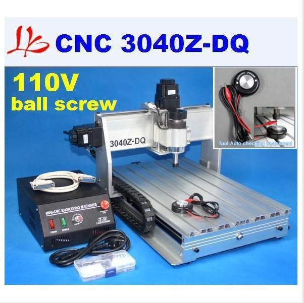 Free shipping 110V cnc 3040 Z-DQ cnc engraver with Ball Screw Design and tool auto-checking instrument(China (Mainland))
