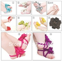 Free Shipping Wholesale 25 pairs/lot Baby Barefoot Sandals Foot Flower baby shoes