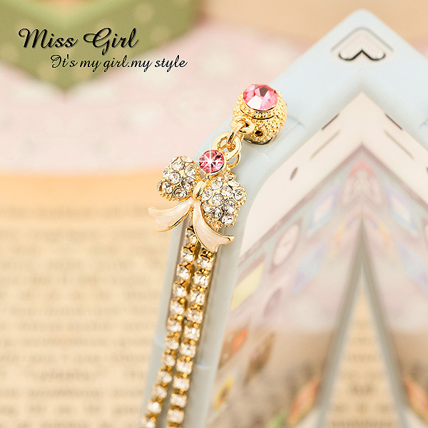 feer shipping Miss girl dream bow for iphone for htc for samsung mobile phone dust plug - 5100302 - 1(China (Mainland))