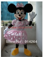 New Professional Pink Dress Minnie Mouse Mascot Costume Fancy Dress Adult Size   /free shipping   by FEDEX DHL