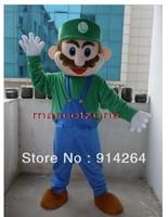 New Super Luigi Mascot Costume Fancy Dress Adult Size   /free shipping   by FEDEX DHL