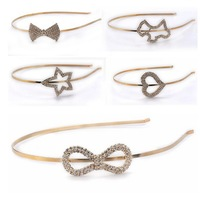 Wholesale 2 pcs/lot Gold Metal Charm Crystal Infinity Star Bowknot Headband Hairbands [JH01018*2]