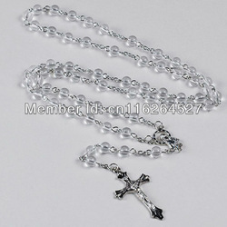 2013 New Arrival + (12pcs/lot) Transparent Glass Beads Necklace Chain+Catholic Rosary Bracelet For praying.Half off shipping(China (Mainland))