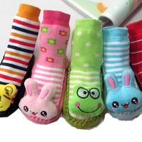 Fast arrived cartoon three-dimensional socks leather sole baby floor sock slip-resistant child loop pile thickening Gift 5pair
