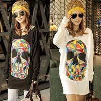 PROMOTION Free shipping 2013 Fashion long bat-wing sleeve Skull print T-shirts women