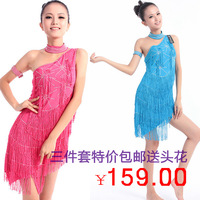 Adult rhinestone tassel Latin dance skirt women's one shoulder performance wear set triangle 093 set