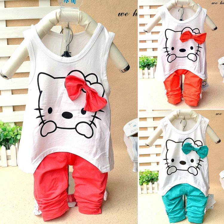 Summer children's clothing baby set clothes vest t-shirt trousers basic shirt 0-1 - 2 - 3 made in china factory outlets(China (Mainland))