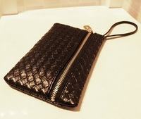 Free Shipping 2013 pure knitted women's handbag coin purse !