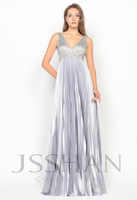 11P070 Straps V-Neck Pleated Beaded Sequined A-Line Elegant Gorgeous Luxury Unique Brilliant Prom Evening Dress